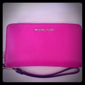 Michael Kors Wallet Clutch Pink and Gold Wristlet